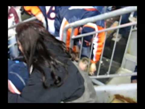 Drunk obnoxious fans fight at Broncos vs Raiders game Invesco Field