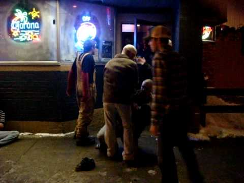 FIGHT!! Drunk Guy Gets Knocked Out!!  Menomonie, WI PART 1